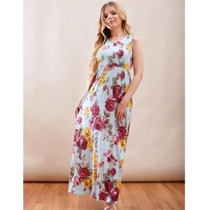 Floral Tank Maxi Dress Mint Mix